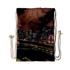 Cityscape Night Buildings Drawstring Bag (small)