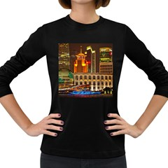 Shanghai Skyline Architecture Women s Long Sleeve Dark T Shirts