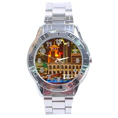 Shanghai Skyline Architecture Stainless Steel Analogue Watch by Simbadda