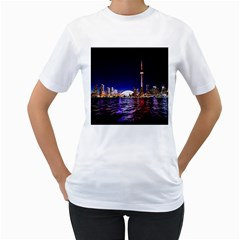 Toronto City Cn Tower Skydome Women s T-Shirt (White) (Two Sided)