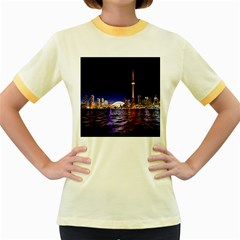 Toronto City Cn Tower Skydome Women s Fitted Ringer T-Shirts