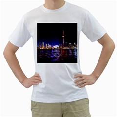 Toronto City Cn Tower Skydome Men s T-Shirt (White) (Two Sided)