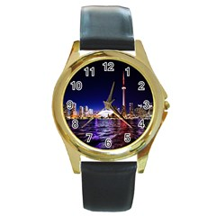 Toronto City Cn Tower Skydome Round Gold Metal Watch