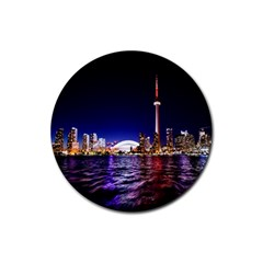Toronto City Cn Tower Skydome Rubber Round Coaster (4 pack)