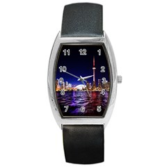 Toronto City Cn Tower Skydome Barrel Style Metal Watch