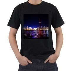 Toronto City Cn Tower Skydome Men s T-Shirt (Black) (Two Sided)