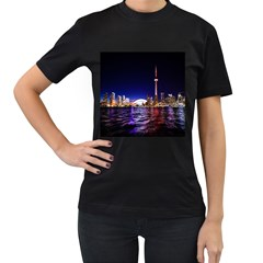 Toronto City Cn Tower Skydome Women s T-Shirt (Black) (Two Sided)