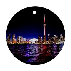 Toronto City Cn Tower Skydome Round Ornament (Two Sides)