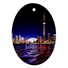 Toronto City Cn Tower Skydome Oval Ornament (Two Sides)