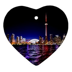 Toronto City Cn Tower Skydome Heart Ornament (Two Sides)