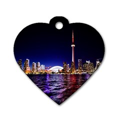 Toronto City Cn Tower Skydome Dog Tag Heart (Two Sides)