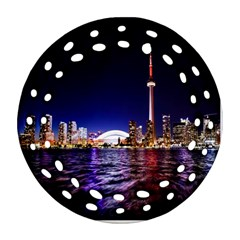 Toronto City Cn Tower Skydome Round Filigree Ornament (Two Sides)