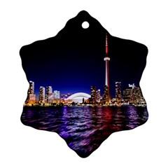 Toronto City Cn Tower Skydome Snowflake Ornament (Two Sides)