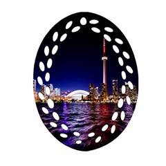 Toronto City Cn Tower Skydome Oval Filigree Ornament (Two Sides)