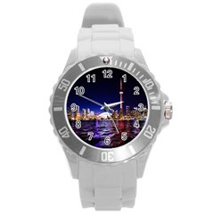 Toronto City Cn Tower Skydome Round Plastic Sport Watch (l) by Simbadda