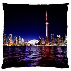 Toronto City Cn Tower Skydome Large Cushion Case (One Side)