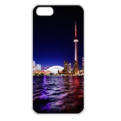 Toronto City Cn Tower Skydome Apple iPhone 5 Seamless Case (White)
