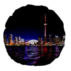 Toronto City Cn Tower Skydome Large 18  Premium Round Cushions