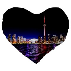 Toronto City Cn Tower Skydome Large 19  Premium Heart Shape Cushions