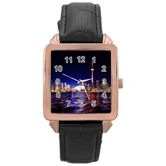Toronto City Cn Tower Skydome Rose Gold Leather Watch
