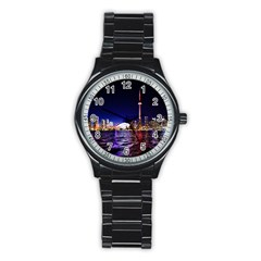 Toronto City Cn Tower Skydome Stainless Steel Round Watch