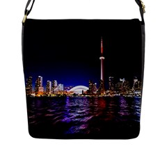 Toronto City Cn Tower Skydome Flap Messenger Bag (l)