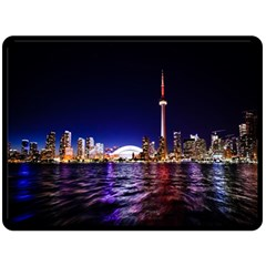 Toronto City Cn Tower Skydome Double Sided Fleece Blanket (Large)