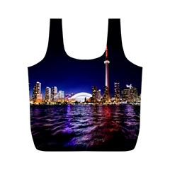 Toronto City Cn Tower Skydome Full Print Recycle Bags (M)