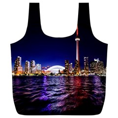 Toronto City Cn Tower Skydome Full Print Recycle Bags (L)