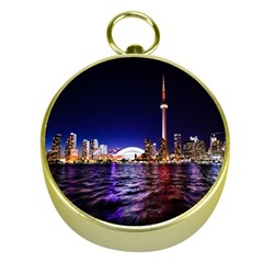 Toronto City Cn Tower Skydome Gold Compasses