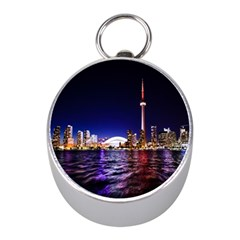 Toronto City Cn Tower Skydome Mini Silver Compasses