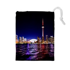 Toronto City Cn Tower Skydome Drawstring Pouches (Large)