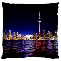 Toronto City Cn Tower Skydome Large Flano Cushion Case (Two Sides)