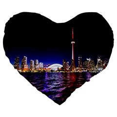 Toronto City Cn Tower Skydome Large 19  Premium Flano Heart Shape Cushions
