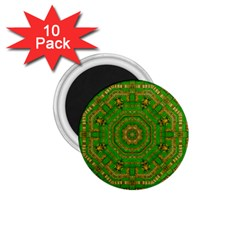 Wonderful Mandala Of Green And Golden Love 1 75  Magnets (10 Pack)  by pepitasart