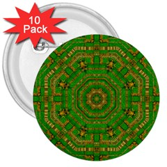 Wonderful Mandala Of Green And Golden Love 3  Buttons (10 Pack)  by pepitasart