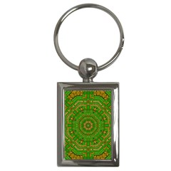 Wonderful Mandala Of Green And Golden Love Key Chains (rectangle)