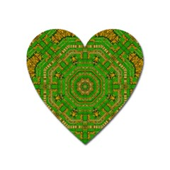 Wonderful Mandala Of Green And Golden Love Heart Magnet by pepitasart