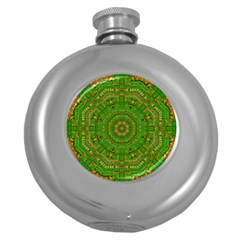 Wonderful Mandala Of Green And Golden Love Round Hip Flask (5 Oz) by pepitasart