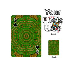 Wonderful Mandala Of Green And Golden Love Playing Cards 54 (mini)  by pepitasart