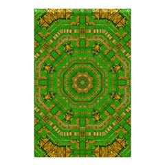 Wonderful Mandala Of Green And Golden Love Shower Curtain 48  X 72  (small)  by pepitasart