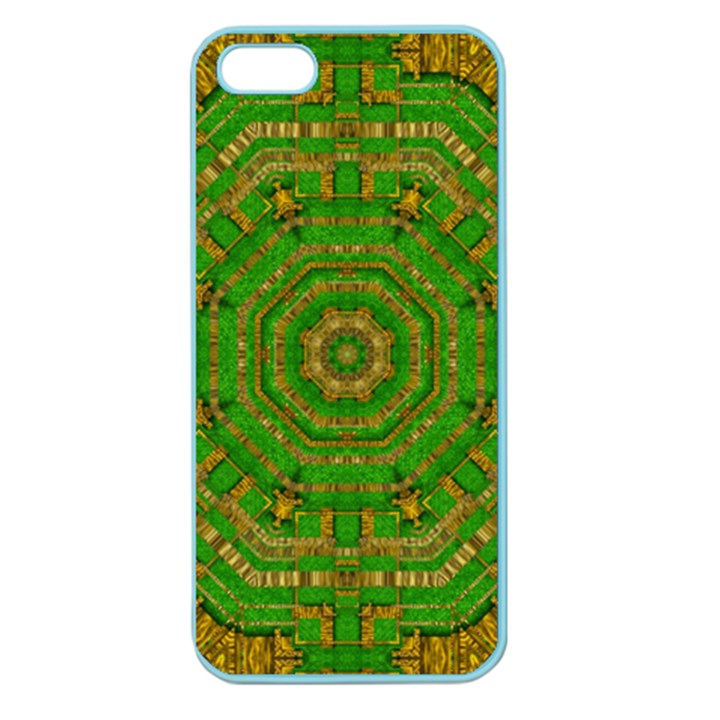 Wonderful Mandala Of Green And Golden Love Apple Seamless iPhone 5 Case (Color)