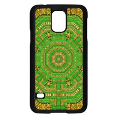 Wonderful Mandala Of Green And Golden Love Samsung Galaxy S5 Case (black) by pepitasart