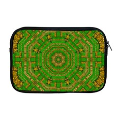 Wonderful Mandala Of Green And Golden Love Apple Macbook Pro 17  Zipper Case by pepitasart