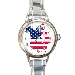 Flag Map Of Canada And United States (american Flag) Round Italian Charm Watch by goodart