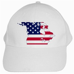 Flag Map Of Canada And United States (american Flag) White Cap by goodart