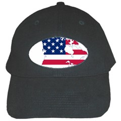 Flag Map Of Canada And United States (american Flag) Black Cap by goodart