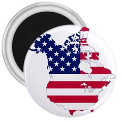Flag Map Of Canada And United States (american Flag) 3  Magnets by goodart