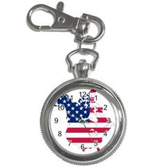 Flag Map Of Canada And United States (american Flag) Key Chain Watches by goodart