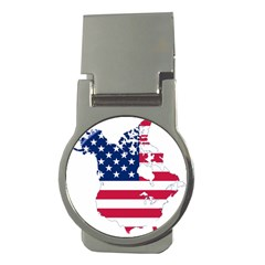 Flag Map Of Canada And United States (american Flag) Money Clips (round)  by goodart